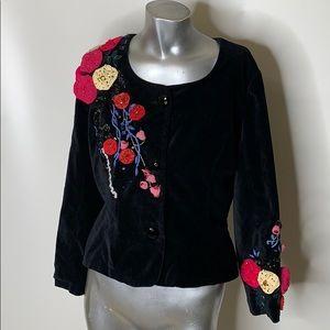 Plenty Vintage Black Velvet Jacket Size 12 Accents